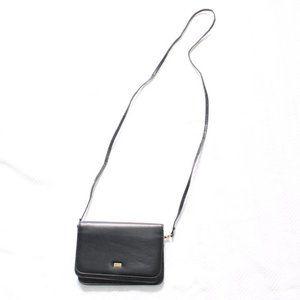 Buxton Black Leather Wallet Cross Body Purse Bag